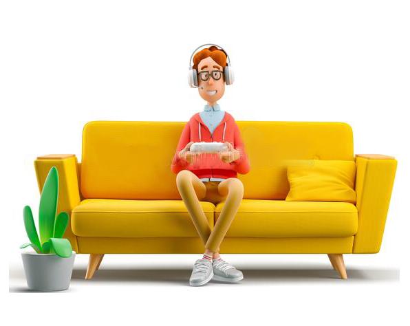 دوره طراحی دکوراسیون داخلی طراحی دکور nerd larry sitting on a couch sofa 3d illustration