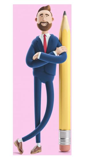 دوره آموزش کارگاه حسابداری 3d illustration businessman billy leaning on a pen