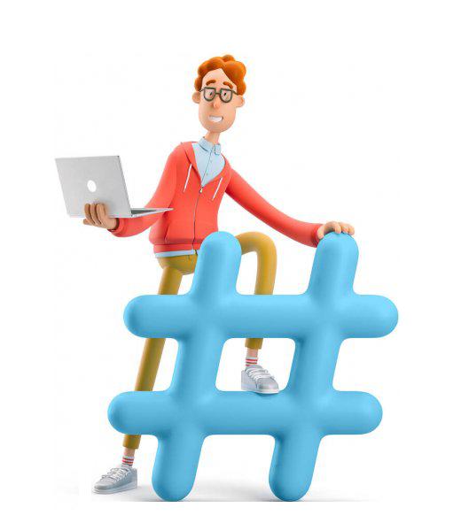 دوره کاربر رایانه IDCL 3d illustration of ner larry holding a laptop an standing on a sharp or hashtag sign