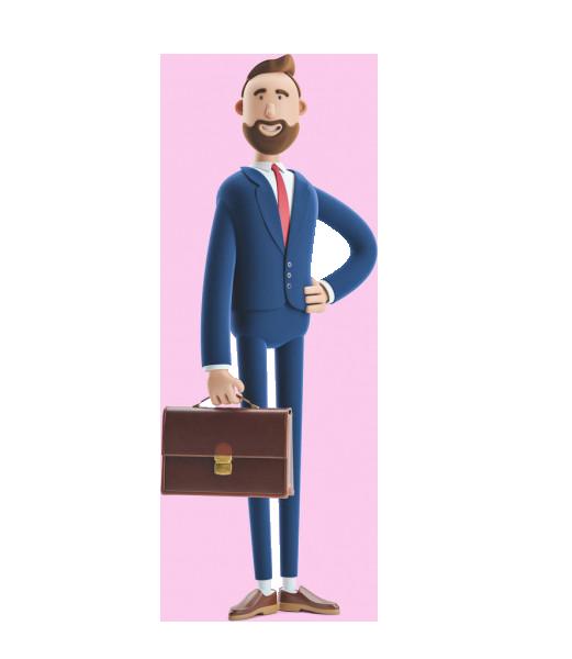 دوره حسابداری ویژه اشتغال و بازار کار شامل نرم افزار هلو و آموزش هلو 3dillustration billy holding a case